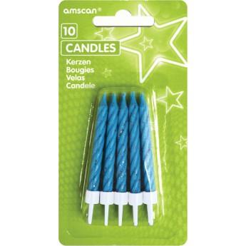 10 bougies bleues pailletées