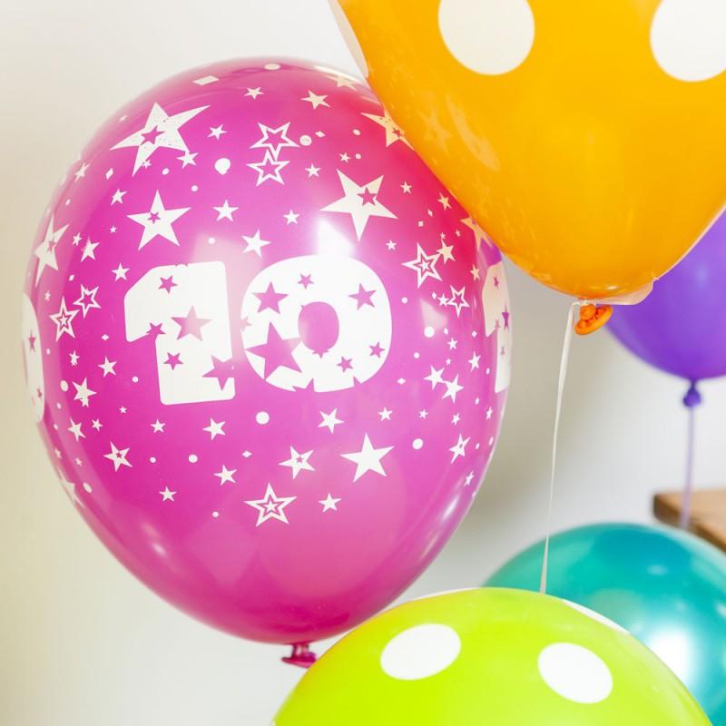 Ballons multicolores chiffre 10