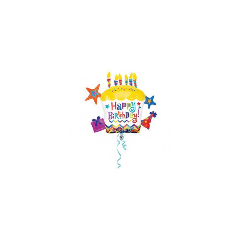 Ballon métallique gâteau d'anniversaire géant