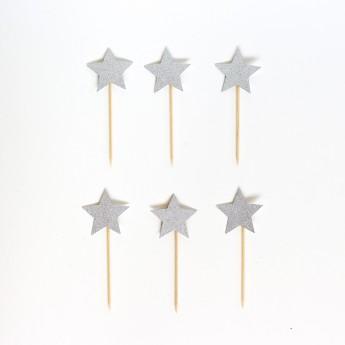 6 piques déco étoiles argent