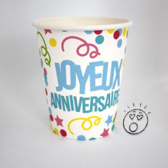 6 gobelets confettis Joyeux...