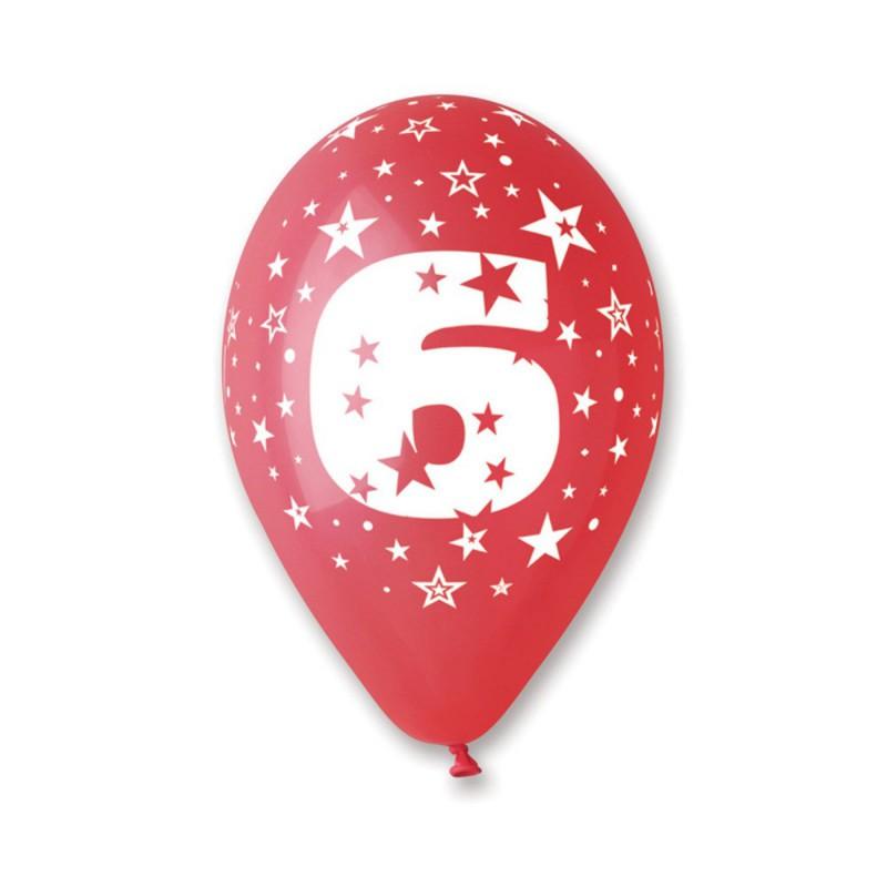 Ballons multicolores chiffre 6