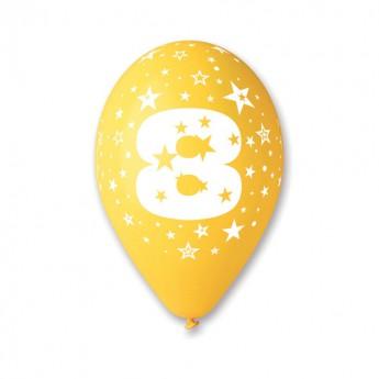 Ballons multicolores chiffre 8