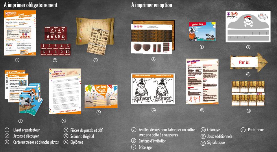 Informations complémentaires sur votre kit à imprimer Chasse au trésor Pirates 6-8 ans